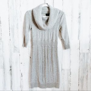 Max and Cleo Gray Cowl Neck Sweater Dress Small
